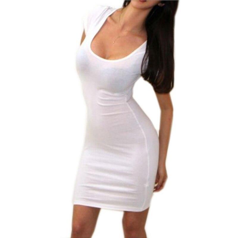 0d10bf264f7 Summer Dress Skinny Sexy Short Sleeve Pencil Slim Stretch Tight Mini  Bodycon Dresses Women Clothing Cheap Sheath Cotton Dress-in Dresses from  Women s ...