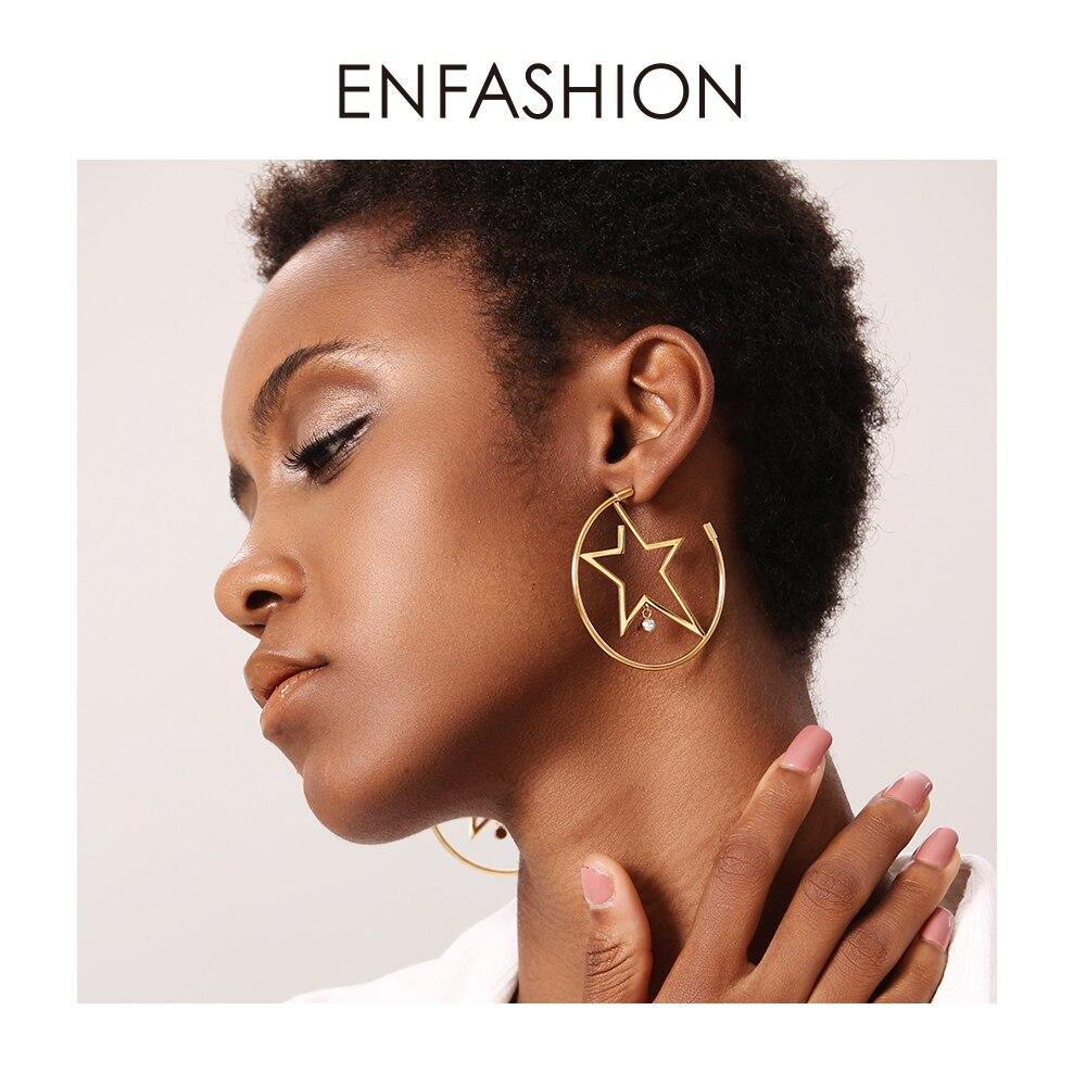 Enfashion スターフープイヤリングゴールド色出穂ステンレス鋼ビッグフープイヤリング女性のファッションジュエリー卸売 ED181079フープイヤリング   -