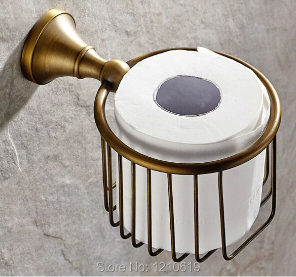 Newly US Solid Brass Bathroom Toilet Paper Basket Holder Antique Round Tissue Rack Shelf Wall Mounted