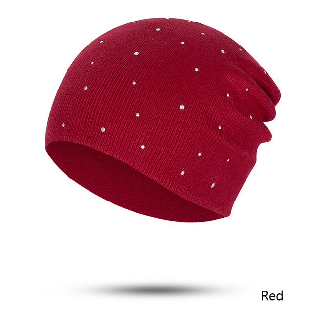 Evrfelan 2018 Fashion Design Women's Winter Beanie Hat Rhinestone Knitting Skullies Beanies Hat Female Solid Color bonnet gorros