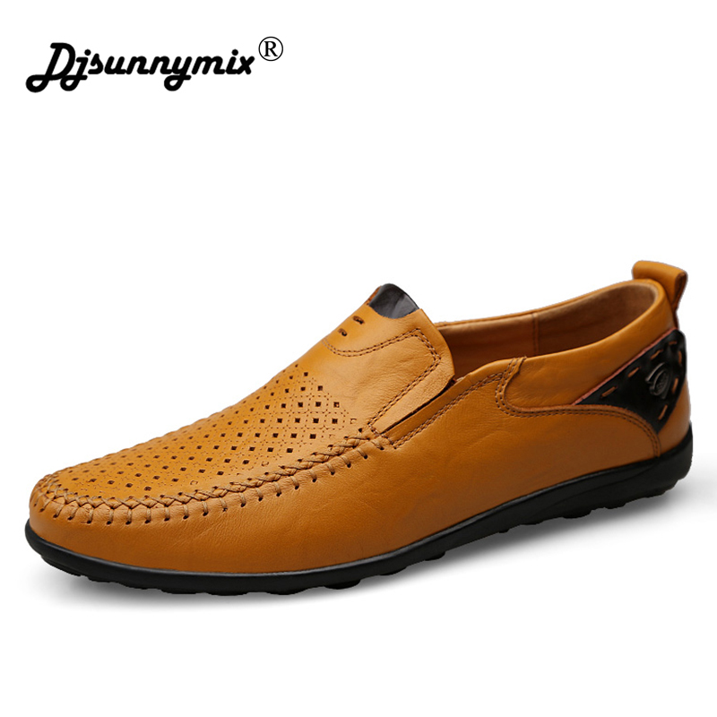 DJSUNNYMIX Brands big size 46 Men Shoes Breathable Male Shoes Slip On Men Genuine Leather Shoes Flats Mens Leather Loafers