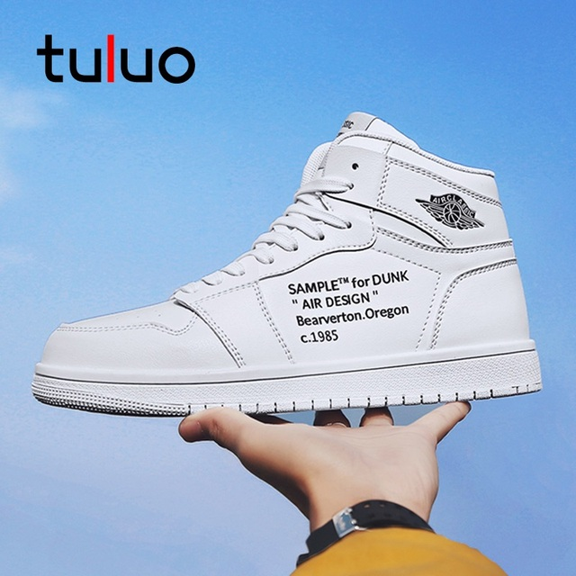 TULUO New Men Skateboarding Shoes High Top Breathable Basket Sneakers White Man Antiskid Sport Shoes Skate Big Size 39-48