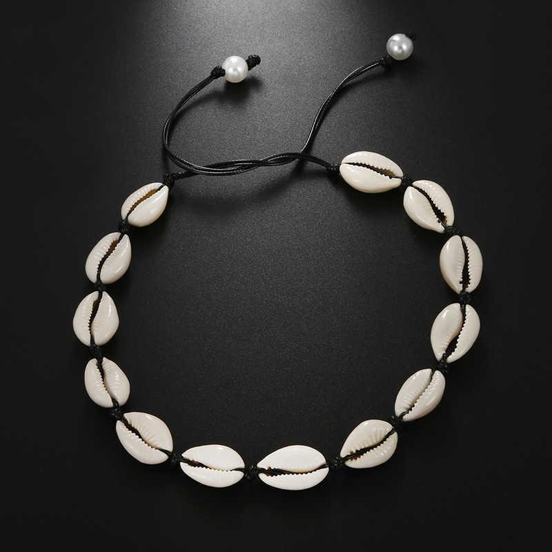 Frauen Strand Schmuck Böhmischen Meer Whtie Schwarz Seil Halskette Mode Handgemachte Natürliche Shell Verstellbaren Kette Für Mädchen Sommer Geschenke