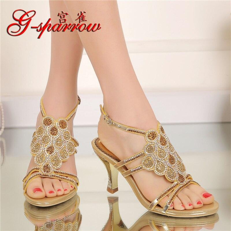 Style Or De Sandale Chaussures Bout Dames Tailles Mode 2018 Talons Hauts Grandes Été À Nouveau Coréen Diamant Cristal Ouvert byfY7gI6v