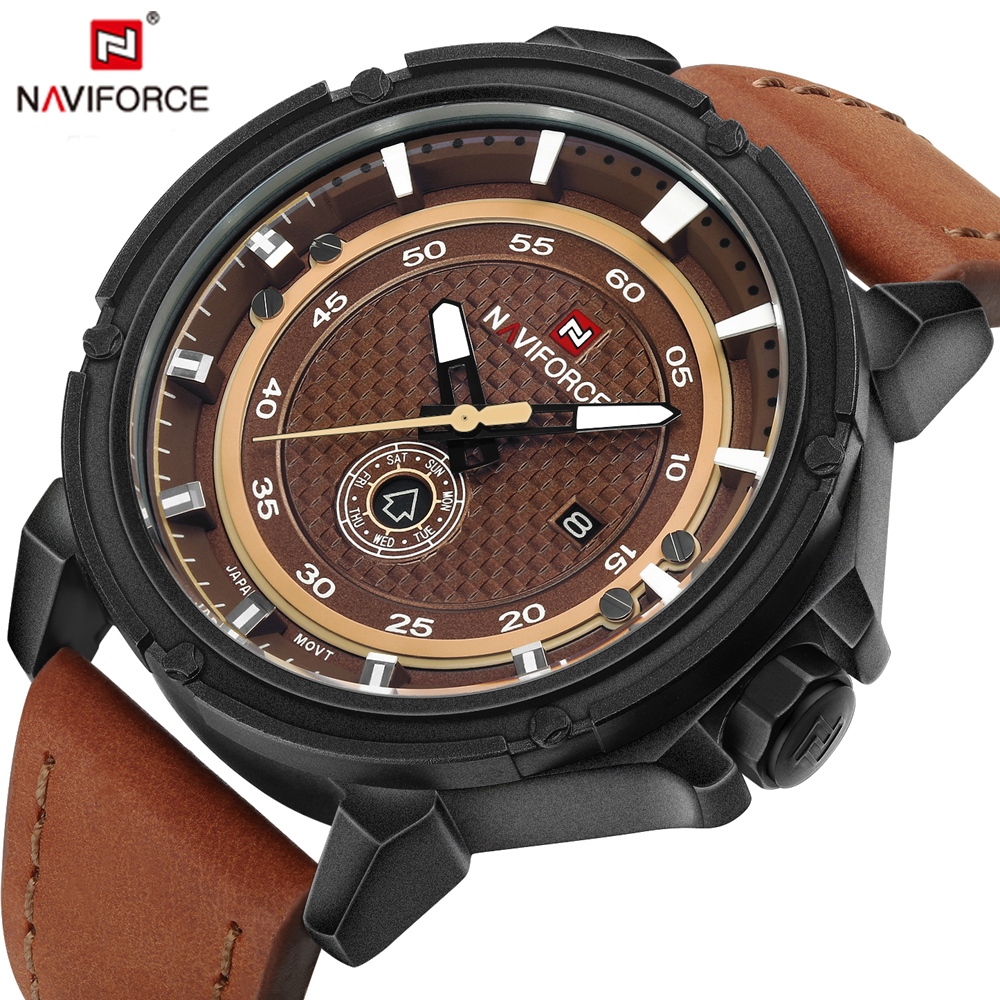 NAVIFORCE Sport Men Watch Army Military Men Clock Fashion Casual Quartz Men Watches Waterproof Leather Strap Relogio Masculino high quality mens business quartz watch men sport military watch pu leather strap army wristwatch male casual clock hour relogio