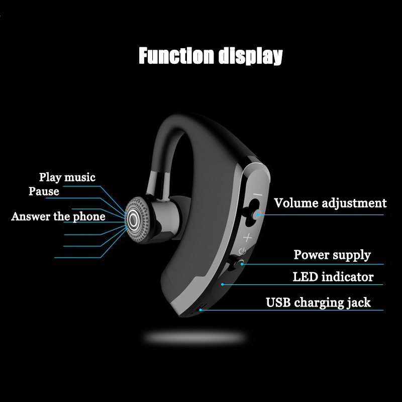 Image 5 - V9 Handsfree Business Bluetooth Earphones with Mic Voice Control Wireless Bluetooth Headset ror Drive Noise Cancelling-in Bluetooth Earphones & Headphones from Consumer Electronics