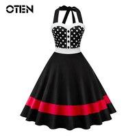 OTEN Fashion ladies dresses summer 2018 elegant vintage retro 50s 60s Women Polka Dot Print Backless A Line Skater Pin up dress