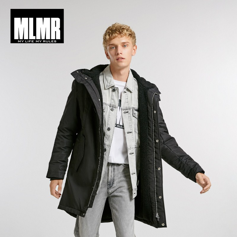 MLMR Men's Hood Drawstring Medium Style   Parka   Coat Quality Outerwear Menswear 218409514