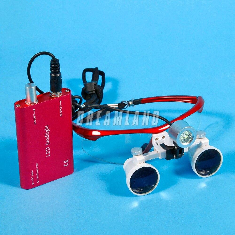 Free Sshipping Dental Equipment Surgical Medical Dental Loupes Dental glasses 3.5X 420mm +LED Head Light Lamp Dental Lab New цена