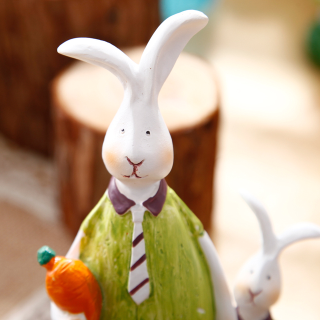 Creative Resin Rabbit Figurines Statues Animal Figurine Home Decor Ornaments Bunny Crafts Office Desktop Decoration Accessories