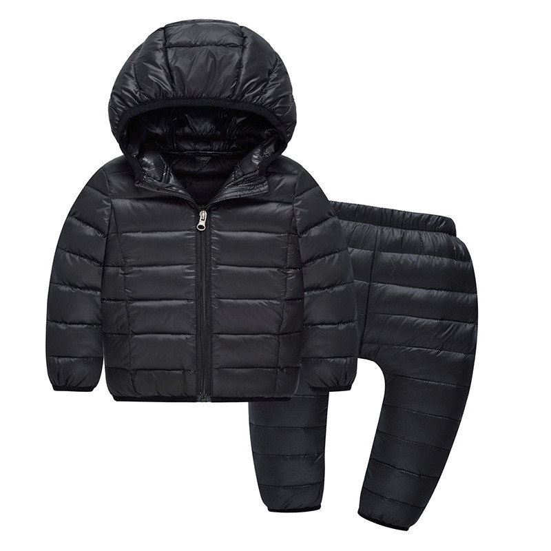 Spring Autumn Thin Down Boy Girl Coat Pants Sets Parkas Fashion Kids Clothes Casaco Casual Tracksuit Baby Suit Children Clothing