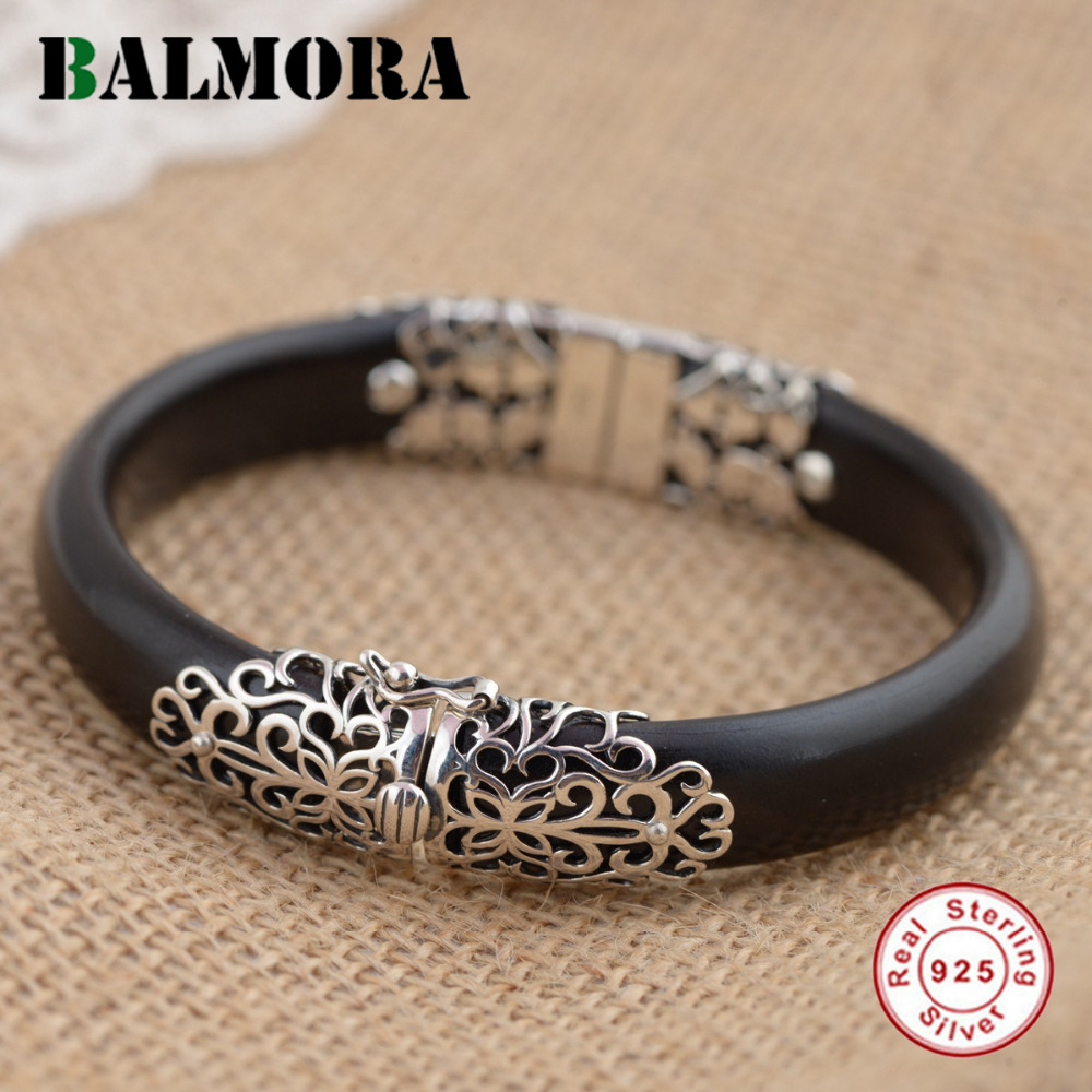 BALMORA 925 Sterling Silver Flower Bangles for Women Gift Vintage Thai Silver Jewelry About 18cm Black Bracelet Pulsera TRS50965