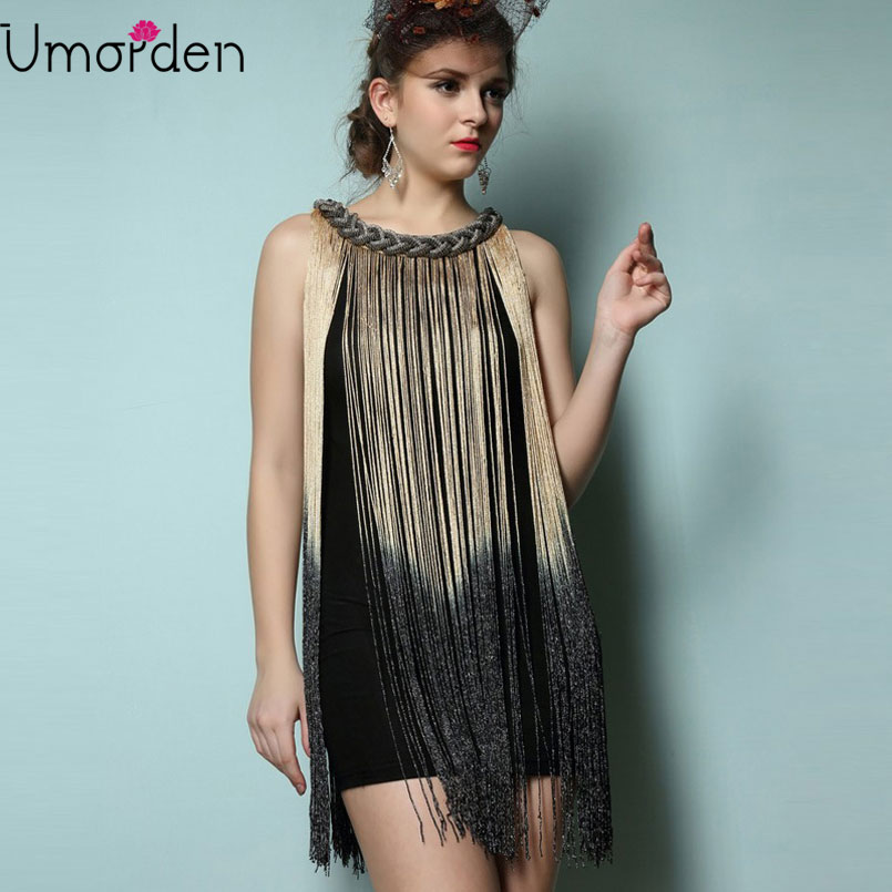 Metal Chain Neck Draping Tassel Dress Women 1920s Fringe Flapper Charleston Mini Tank Club Dresses Vestido