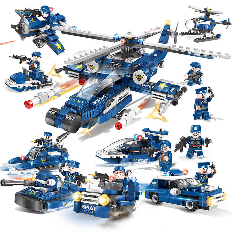 8 IN 1 Swat Army Police Helicopter Car Legoings Model Building Blocks City Figures Weapon Gun Educational Toys for Children