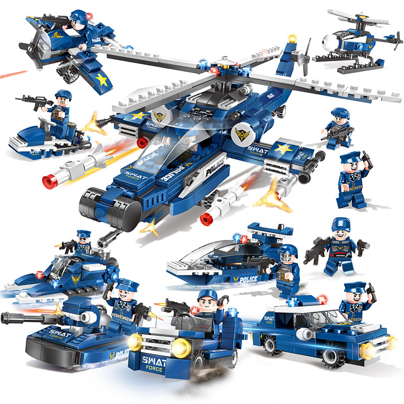 Detail Feedback Questions about 8 IN 1 Swat Army Police Helicopter Car  Legoings Model Building Blocks City Figures Weapon Gun Educational Toys for  Children ... 4518147078