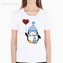3bcbda58acca penguin in love T Shirt Printing Female T-shirt Casual Short Sleeve O Neck  Tops