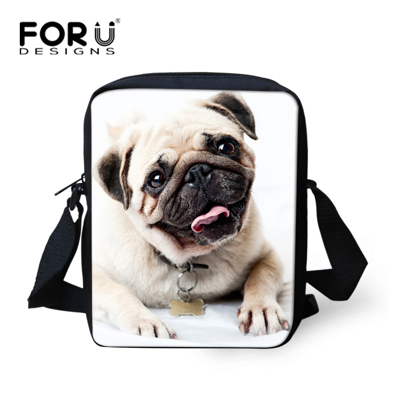 FORUDESIGNS Kvinnor Messenger Bags Flickor Mini Bags 3D Animal Pug Dog Print Barn Skalväska Ladies Crossbody Spain Bag Small