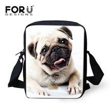 FORUDESIGNS, bolsas de mensajero para mujeres, chicas Mini bolsas de 3D animales Pug perro niños hombro bolsa cartera España bolsa pequeña