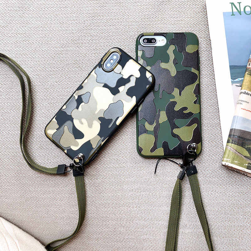 info for 8cb6c 51a62 Boucho Neck Strap Phone Cases For iPhone XS MAX XR X 7 8 6 6S plus Case  Relief Military Camouflage Pattern Cover with Lanyard