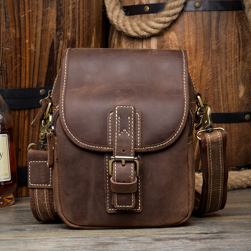 ФОТО Men Genuine Leather Hip Bum Pouch Crazy Horse Cowhide Leather Fanny Packs Vintage Flap Causal Small Messenger Shoulder Bag 4001