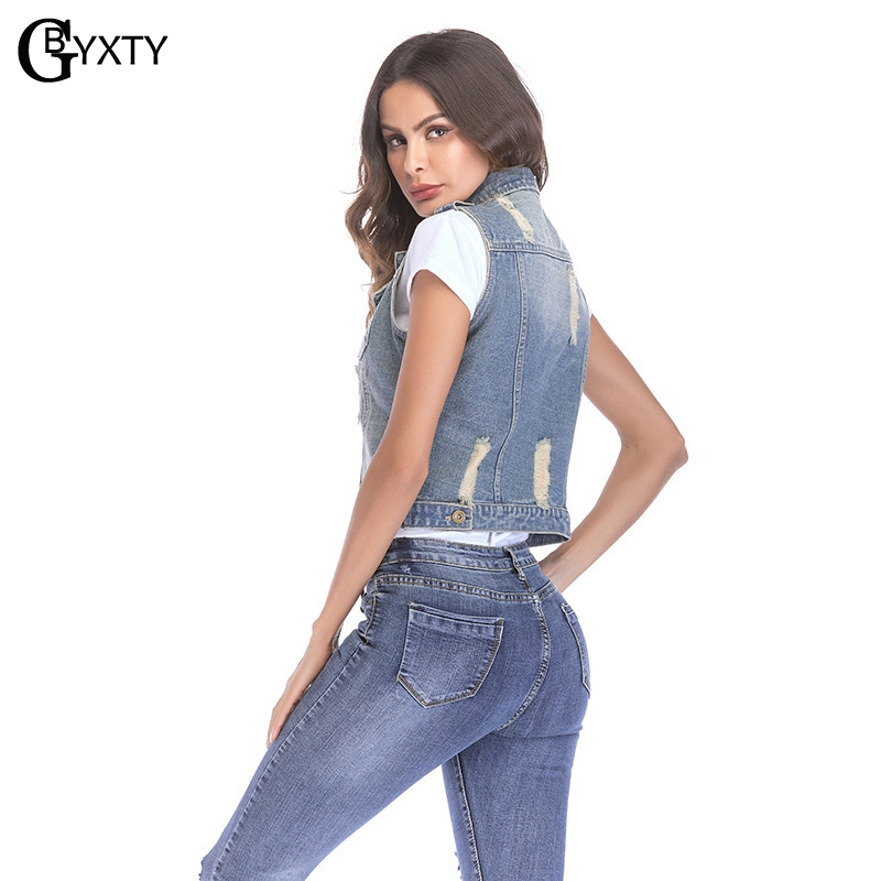 GBYXTY colete feminino Women Summer Jeans Vest Cardigan Fashion Ripped  Holes Cropped Sleeveless Denim Vest Jacket Coat ZA681-in Vests   Waistcoats  from ... c2e24435ecc