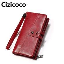 Купить с кэшбэком New Brand Genuine Leather Women Wallets Fashion Long Women Purses Multi Function Money Pocket Cell Phone Pocket