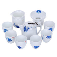 Hand-painted Blue And White Ceramic Kung Fu Tea Set Gaiwan Porcelain Teapot Cover Bowl Teacup 6 People Home Gift Box