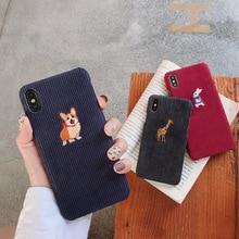 Moda Sıcak Kadife telefon kılıfı Için iphone XS Max XR iphone için kılıf 7 8 6 s 6 artı X Kapak Sevimli Robbit nakış Sert Kılıfl...
