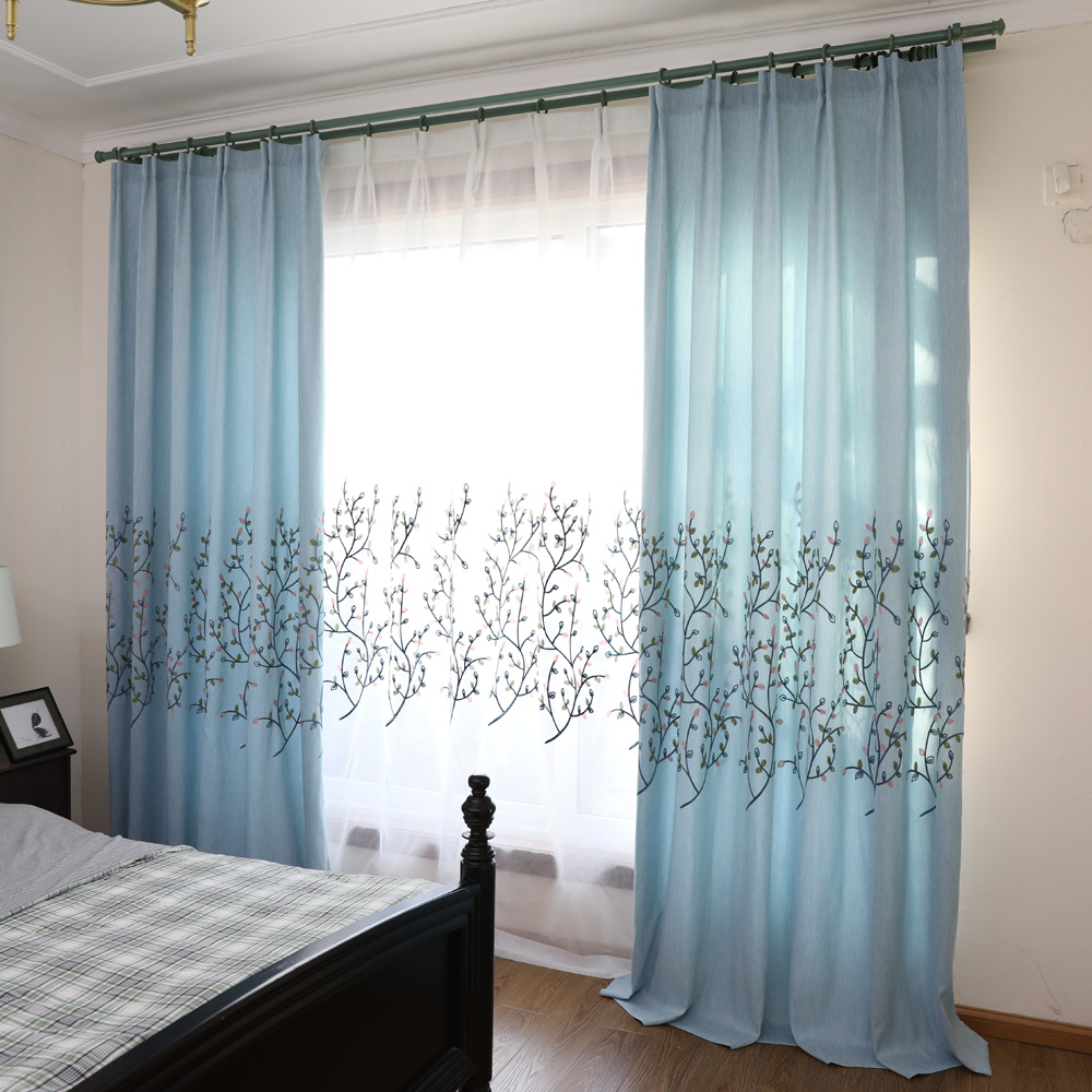 Korean Embroidered Leaves Pink Blackout Curtains For Living Room ...