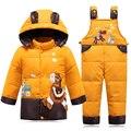 Para baixo Casaco Para As Meninas Inverno Snowsuit Macacão Para O Menino Crianças Casacos quentes Da Criança do Bebê Outerwear Ternos Casaco + Calça Conjunto 2-4Y