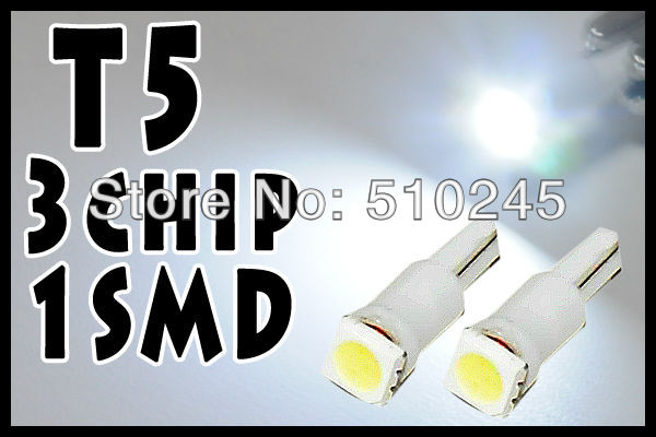 Free shipping 2000XFree shipping Car Auto LED T5 1 led smd 5050 Wedge LED Light Bulb Lamp 1SMD White/Green/Blue/Red/Yellow