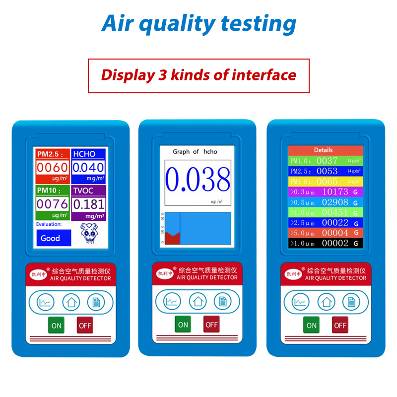 Formaldeyde HCHO PM1.0 PM2.5 PM10 Gas Analyzer TVOC Particles Detector Tester Meter Indoor Air Quality Monitor Rechargeable indoor air quality monitor air quality detector tvoc&fomaldehyde detector