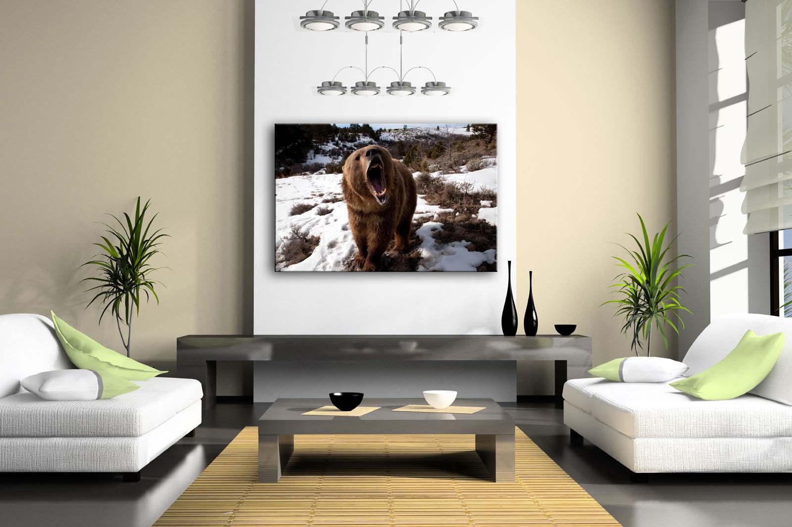 Encadrée mur Art photos ours Snowfield herbe arbre toile impression Animal moderne affiches avec cadres en bois pour salon - 2