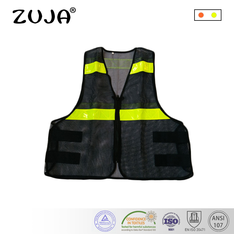 Safety Clothing Workplace Safety Supplies Supply Black Mesh Vest High Visibility Pvc Reflective Tape Zipper Front