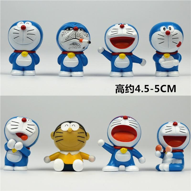 ><font><b>8pcs</b></font>/lot pvc 5cm <font><b>Japanese</b></font> anime figure cute <font><b>kawaii</b></font> Doraemon action figure <font><b>set</b></font> collectible model toys for girls