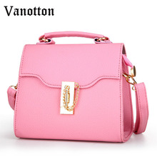 2016 Brand Design Women Pure Color Handbag Fashion Pu Leather Tote Bag Chain&hasp Small Bag Casual Shoulder Bag Leisure Package