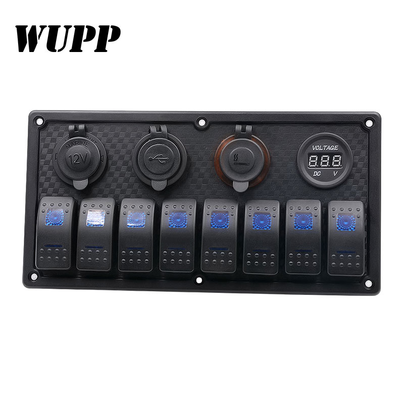 WUPP 8 Gang LED Car Boat Rocker Switch Panel Dual USB Cigarette Lighter Socket Voltmeter Car Switch Panel LED Boat Switch Panel 15a dc output car auto boat marine led ac dc rocker switch waterproof panel dual power control overload protection