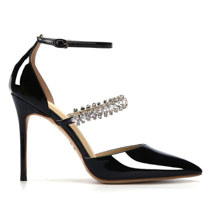2019 Spring Newest Patent Leather High Heel Shoes Sexy Pointed Toe Crystal Embellished Thin Heels Pumps Ankle Strap Party Shoe 2019 Spring Newest Patent Leather High Heel Shoes Sexy Pointed Toe Crystal Embellished Thin Heels Pumps Ankle Strap Party Shoe