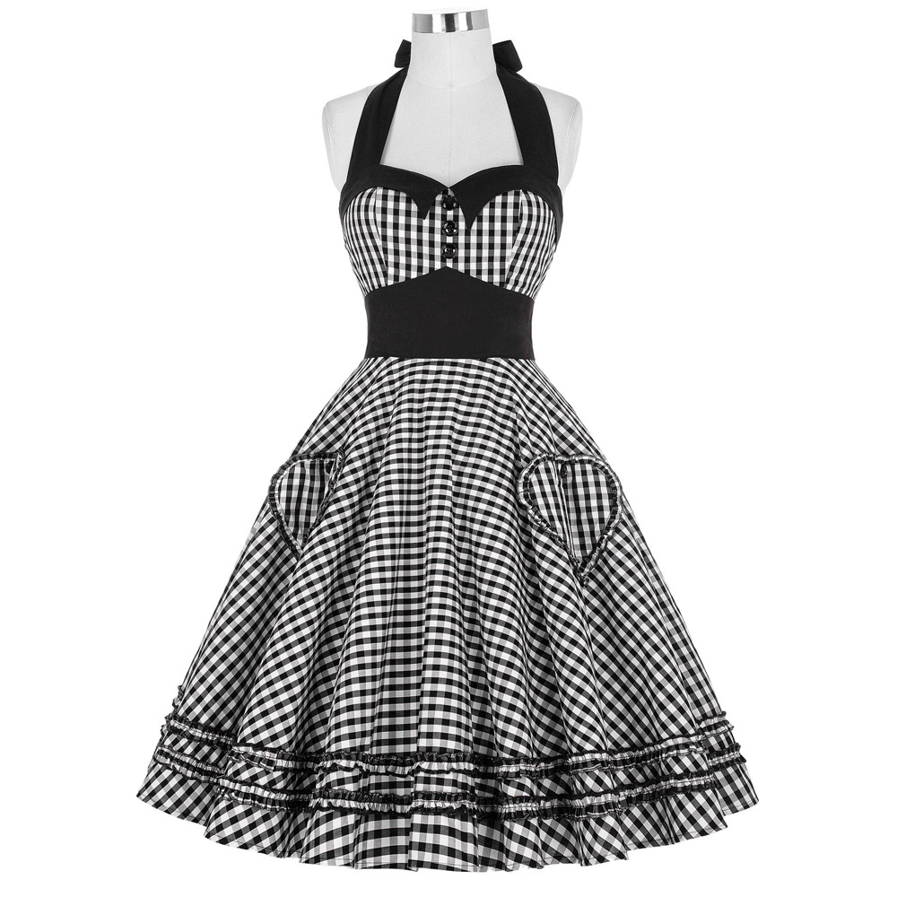 Women Dress Plus Size Summer Clothing 2016 Retro Swing Short Gown robe Pin up Plaid Vintage