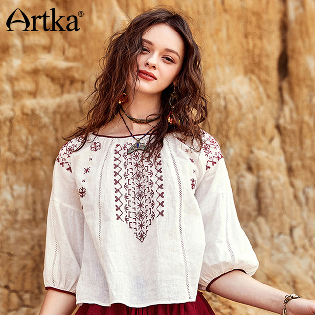 a11b031e4e ARTKA 2018 Summer New Bohemian Cotton and Linen Embroidery Half Lantern  Sleeve Vintage Female Simple All