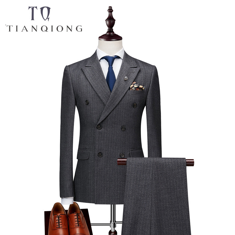Chaquetas + Pantalones + chalecos para hombre traje de doble botonadura 2018 ajustado traje de rayas verticales hombres lujo vestido de boda Blazer trajes de hombre-in Trajes from Ropa de hombre    2