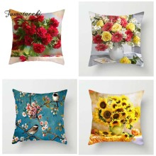Fuwatacchi Floral Series Cushion Cover Rose Sunflower Peach Blossom Pillow Covers for Sofa Car Bedroom Decor Birds Pillowcases