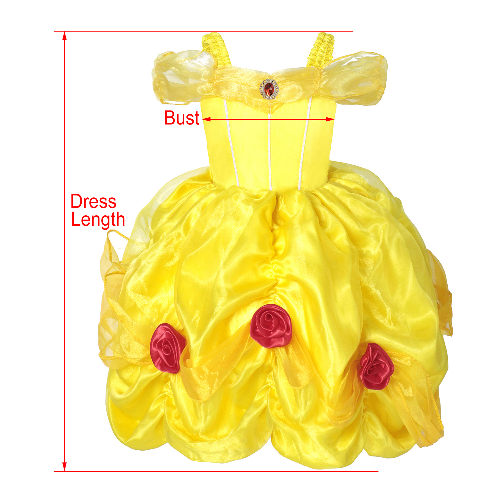 Princess Belle Dress Off Shoulder Layered Ruffle Costume Dress for Little Girls