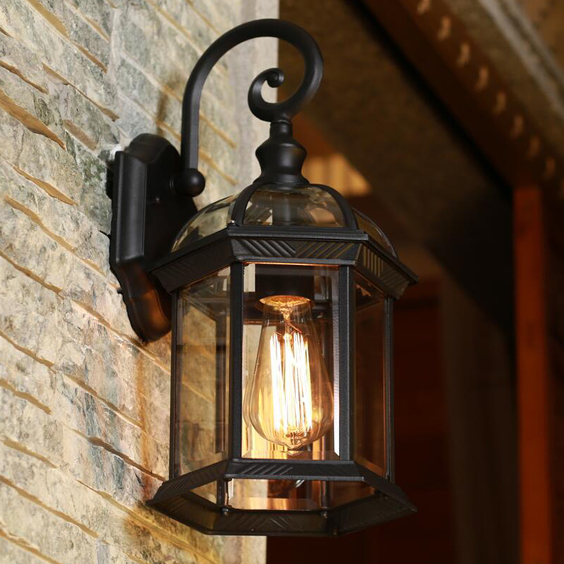 Europe Led Porch Lights Outdoor Wall Lamp Black Housing
