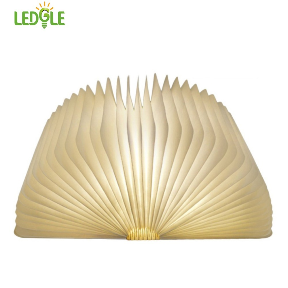 LEDGLE Foldable Book Light Rechargeable LED Night Light Creative Book Shaped Lamp for Decor, Warm White Light, Brown Wood Grain