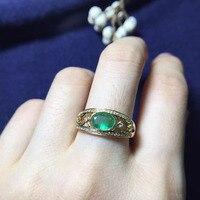 Fine Jewelry Идеальный 18 К золото идеальная высшего сорта Зеленый Изумрудный ring0.7ct для женщин яйцо поверхности 5*7 мм обручальное кольцо