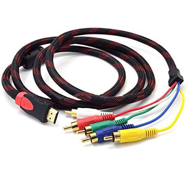 Wantek 24 К к позолоченные разъемы для лучшего передачи сигнала Full HD 1080p HDMI штекер до 5 RCA RGB Аудио Видео AV компонентный кабель