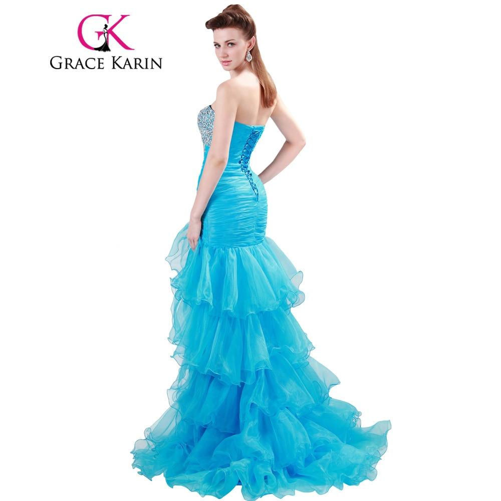 Grace Karin Prom Dresses Mermaid Bandage Strapless Organza Beading ...