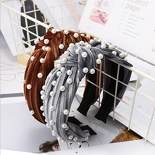 Fashion Women Headband Pearl Hairband High Quality Pleuche Cloth Hair Band Wholesale Adult Accessories