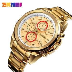 Image 1 - SKMEI NEW Business Men Quartz Watches Alloy Strap Large Dial Watch Waterproof Wirstwatch Relogio Masculino 1378 erkek kol saati